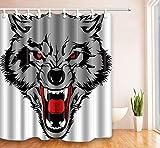 KaiXINSun Wolf Kopf Duschvorhang Polyester Duschvorhang Mode Umweltschutz Wasserdicht Bad Duschvorhang 180X180Cm