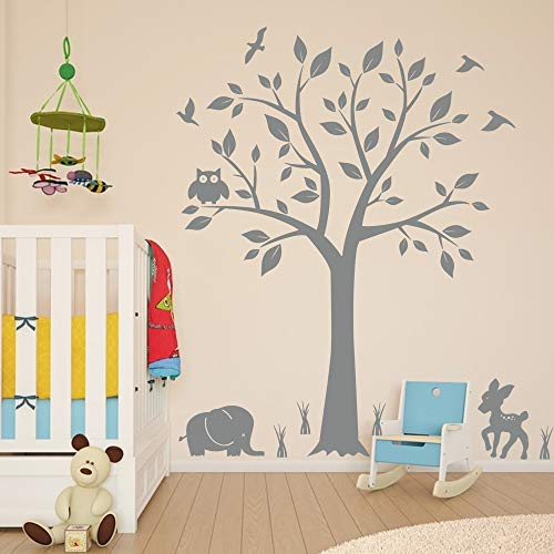 Tree Nursery Animal Wall Decals with Owls & Elephant Deer Birds Living Room Home Decal Bed Baby Room Wall Decals, Best Décor for Kids Room Birds, Wall Stickers