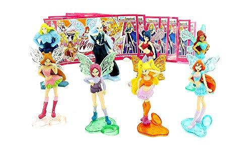 Kinder Überraschungseier Figuren. Winx Club Figuren aus dem Ü-Ei von 2012 mit Allen Zetteln von Ferrero