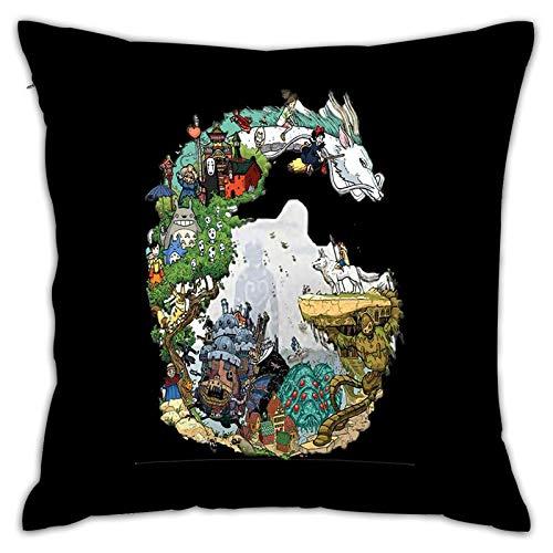 Gypsophila Fundas de almohada con impresión 3D, diseño de anime Ghibli Art2, fundas de cojín cuadradas decorativas para sofá, decoración del hogar, 45 x 45 cm