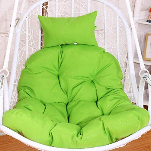 HKHKJ Hanging Basket Chair Cushions,Hanging Egg Hammock Chair Pads With Head Pillow,Removable Washable Thick Removable Cover 7.20 (Color : Green)