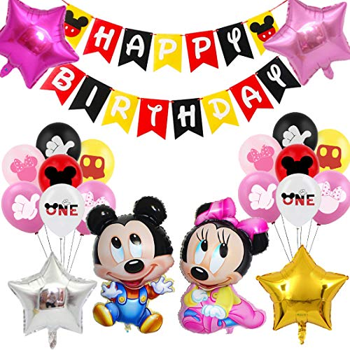 Mickey Themed 1st Birthday Decorations, Blue Mickey Paper Honeycomb Balls, Happy Birthday Banner, Cake Topper for Mickey Themed Party