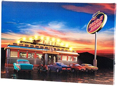 infactory Wandbild Rock It Diner auf Leinwand mit LED-Beleuchtung, 45 x 30 cm