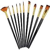 Cepillo de pintura de nailon de 10 piezas, no es fácil de quitar el cabello, para diversos requisitos de pintura, cepillos de madera de mango largo