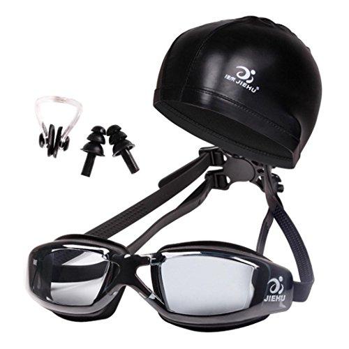 Iusun Waterproof Swimming Goggles Cap Equipment Ear Plugs Nose Clip Set Anti-fog Swimwear (Black)
