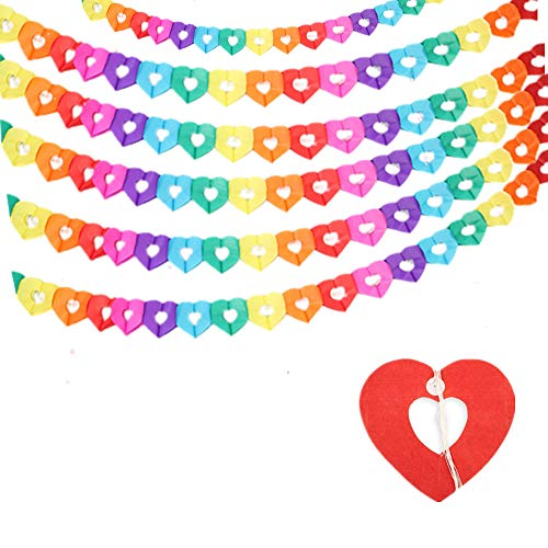 6 Pcs Heart Shape Garland Rainbow Tissue Paper Heart Banner Heart Hanging Decoration for Wedding Birthday Party Baby Shower