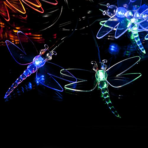 SPV Lights - 30 Multi-Colour LED Dragonfly Solar Powered Fairy Lights - Waterproof Solar Decoration String Lights with Built-in Night Sensor - for Christmas, Outdoor, Garden, Fence, Patio, Yard, Walkway, Driveway, Shed, Garage, Path, Ornament, Stairs and Outside