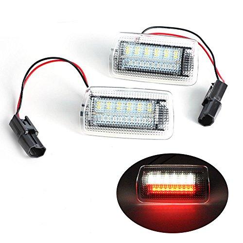 Gzlmmy Blanc + Rouge 12 V Super Lumineux d'erreur gratuit d'urgence côté Courtois du pas de porte Bienvenue lumières LED Lampe