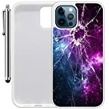 """Custom Case Compatible with iPhone 12 Pro Max (6.68"""") (Cracked Screen Prank) Edge-to-Edge Rubber White Cover Ultra Slim   Lightweight   Includes Stylus Pen by Innosub"""