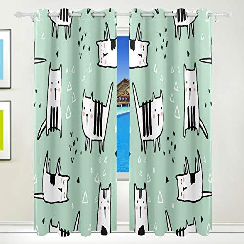 カーテン 一級遮光 昼夜目隠し 動物柄 ペット 犬 緑 背景 漫画カフェーカーテン キッチン ベランダ 居間 断熱 保温 防寒 節電対策 洗濯可 2枚組
