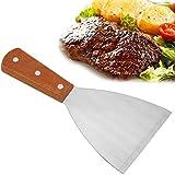 Edelstahl Beefsteak Pfannenwender antihaftbeschichteter Holzgriff Grillspachtel Plancha Grill Kochspachtel Steak Fries Klinge Outdoor Kochen Werkzeug für BBQ