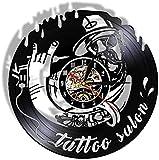 BBNNN Vintage Tattoo Artwork Tattoo Studio decoración Reloj de Pared Reloj diseño de salón de Tatuaje Disco de Vinilo Reloj de Pared 12 Pulgadas