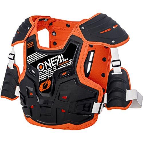 O'NEAL | Brustprotektor | Motocross Enduro | Aus Kunststoff-Spritzguss, Verstellbare Hüftgurte, Zertifiziert EN 14021 | PXR Stone Shield Brustpanzer | Erwachsene | Schwarz Orange | One Size