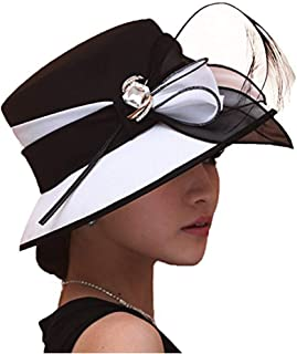 Women Hat Formal Dress Hat Chiffon Elegant Feather Two Tone Colors