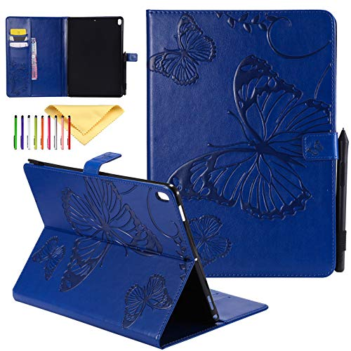 Uliking iPad 4 Cover, iPad 2 3 4 Case, Butterfly Embossed PU Leather Standing Smart Cover with Auto Sleep/Wake Wallet Case for Apple iPad 9.7 Inch Old Model 4th/3rd/2nd Generation Tablet, Blue
