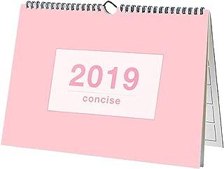 """Disveo Desk Calendar July 2018-2019, Monthly Desk Pad Calendar Home Planner Wall Calendar (July 2018 Through December 2019)-12""""x8"""",Blue&Pink (Pink)"""