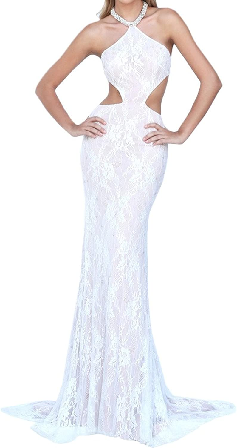 MILANO BRIDE Sexy Evening Holiday Dresses Backelss Halter Lace Beach Wedding Gown