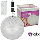 Rotating GLITTER BALL 15cm Mirror Ball Silver for Disco & Parties with Motor