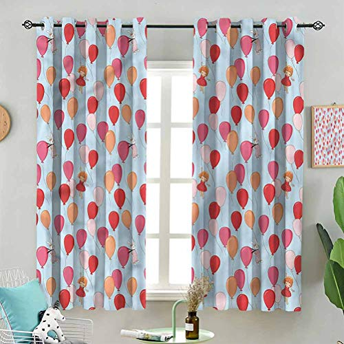 Blackout Window Curtain Bunny Girl and Balloons W63 x L45 Inch (2 Panels) for Indoor Living Dining Room Bedroom