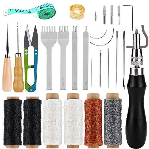 Namner 26 Stück Leder Nähwerkzeug, Lederhandwerk Werkzeuge Hand Nähen Kit mit Wachsfaden, Ahle, Leder Nadel, Fingerhut und anderem Zubehör für lederbearbeitung