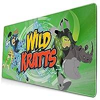 Wild Kratts (2) 大型マウスパッド ゲーミング 防水 おしゃれ マウスパッ滑り止め キーボードパッド オフィス デスクマット 疲労軽減 ハンドレスト 腱鞘炎対策 多用途の ド キーボード用 摩耗に耐える 75x40x0.3cm