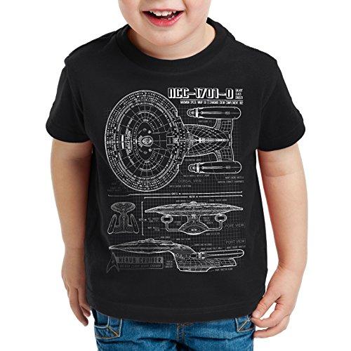 style3 NCC-1701-D Blaupause T-Shirt Kinder Trek Trekkie Star, Farbe:Schwarz, Größe:104