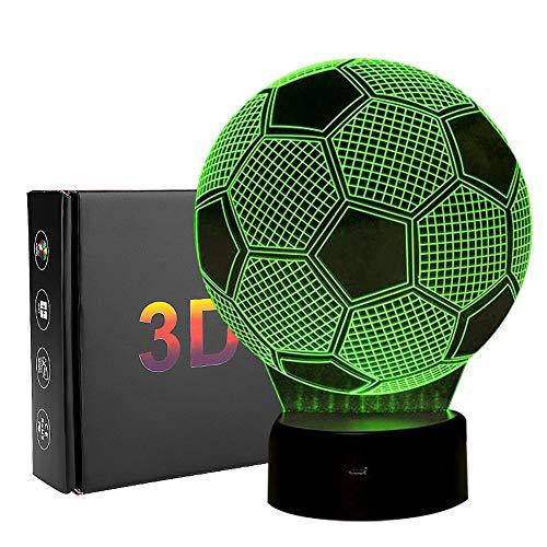 Linkax 3D LED Luz de noche Ilusión óptica Lámpara de mesa Luz iluminación 7 colores de control remoto con Acrílico Plano & ABS Base & Cargador usb