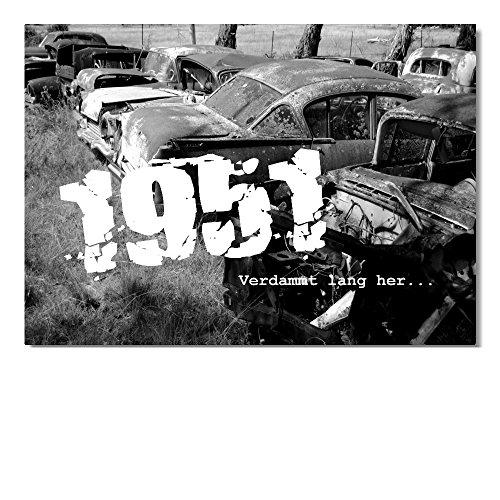 DigitalOase 2 Einladungskarten Jahrgang 1951 70. Geburtstag MIT INNENTEXT Geburtstagskarten 2 Klappkarten 2 Kuverts Format DIN A6#OLDIE