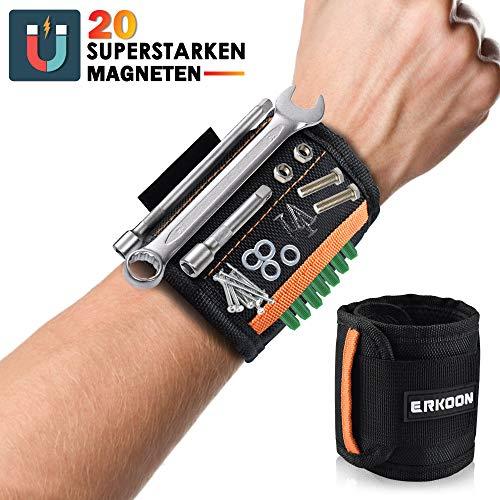 ERKOON Magnetische Armbänder, Extra starken Magnetisches Armband mit 20 kraftvollen Magneten, zum Halten von Werkzeug/Schrauben/Bohrer/Nägel, kleine Geschenke für Elektriker,Handwerker,Heimwerker
