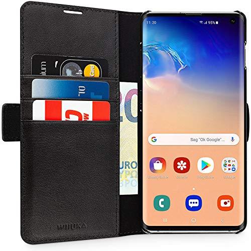 WIIUKA Echt Ledertasche - TRAVEL Away - Hülle für Samsung Galaxy S10, mit Vier Kartenfächern, extra Dünn, Tasche Schwarz, Premium Leder, kompatibel mit Samsung Galaxy S10