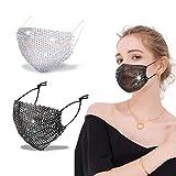 Sparkly Rhinestone Face Mask Glitter Bling Bling Mask Fashion Mesh Masquerade Mask For Women Girls Gifts(2pcs-black&white colorful)