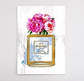 Wall Coverings Fashion wall pop art print Illustration N 5 Perfume Flower with Gold Chic Glam Vogue poster on Canvas 671