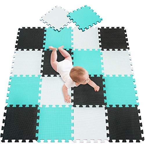 meiqicool Alfombra puzle 142 x 114cm Niños 18 Piezas Cuadrado Goma Espuma EVA,Alfombra Puzzle para Niños Bebe Infantil,esteras de 30x30cm Blanco Negro y Turquesa 010408