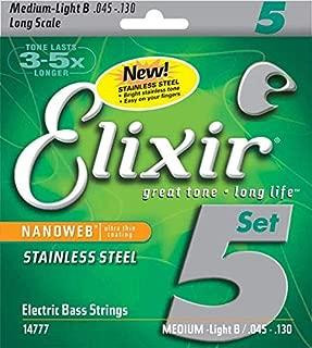 Elixir Strings Stainless Steel 5-String Bass Strings w NANOWEB Coating, Long Scale, Light (.045-.130)