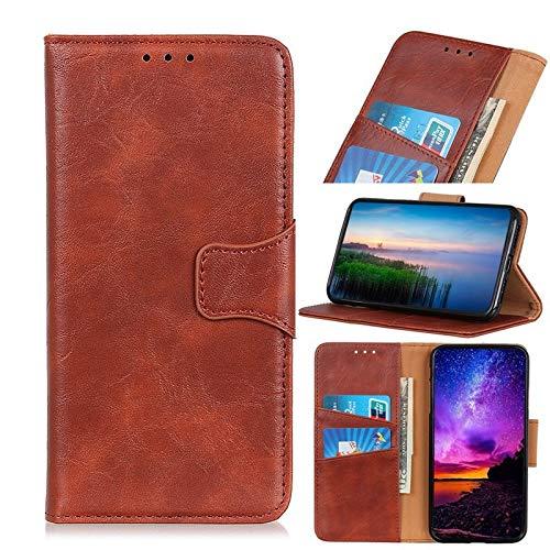 Happy-L Caso Huawei Mate 30 Pro, Folio Stand Case, Crazy Horse Texture PU Cartera de Cuero con Cierre magnético (Color : Brown)