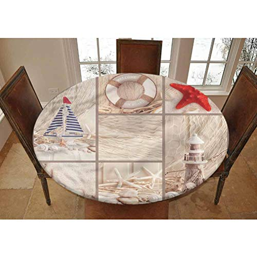 LCGGDB Nautical Elastic Edged Polyester Fitted Tablecolth -Marine Sail Boat Collage- Small Round Fitted Table Cover - Fits Tables up to 40-44' Diameter,The Ultimate Protection for Your Table