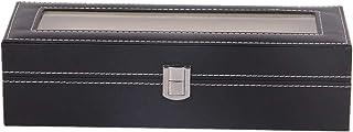 QinWenYan Boîte de Montre Montre en Cuir De Stockage D'affichage Boîte 6-Slot Noir Écrins pour Montres (Color : Black, Siz...