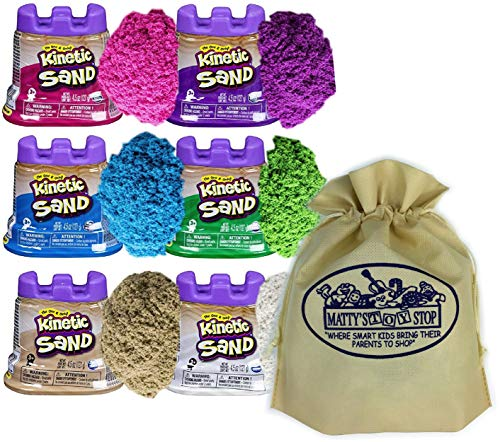 Kinetic Sand Modeling Sand 4.5oz. Containers Pink, Green, Purple, White, Beige & Blue Gift Set Bundle with Bonus Matty's Toy Stop Storage Bag - 6 Pack