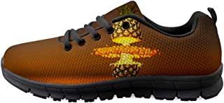 Owaheson Lace-up Sneaker Training Shoe Mens Womens Gold Foil Pineapple Ananas