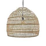 Wlgt Lampadario, stile cinese rotondo creativo intrecciato a mano bambù rattan lampadari lanterna di vimini retrò camera da letto industriale comodino E27 illuminazione lampada a sospensione cucina is