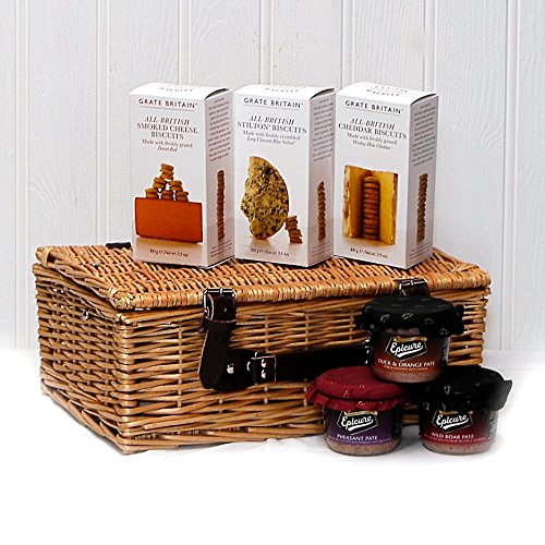 Crackers and Pâté Food Hamper Presented in a Wicker Gift Basket - Gift ideas for Mum, Mothers Day, Birthday, Valentines, Fathers Day, Business and Corporate