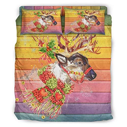 Four-piece Bed Set Printed Deer Love Christmas Mysterious Bedding Set Super Soft Christmas Duvet Cover white 203x230cm