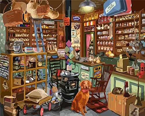 n / a DIY Pintura por número Estante Pintado a Mano Pintura Arte Regalo imágenes por número Lona Tienda Kits Decoraciones para el hogar Decoraciones(16 * 20 Pulgadas sin Marco)