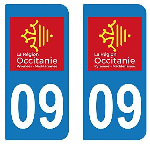 supstick 2 STICKERS AUTOCOLLANT PLAQUE IMMATRICULATION DEPT 09 région Occitanie