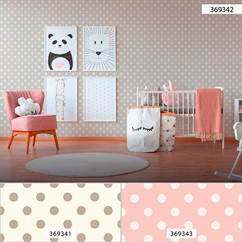 Punkte-Tapete Kinderzimmer   Kinder-Tapete grau weiß 369342   Vliestapete Punkte 36934-2   Gepunktete Tapete für Babyzimmer   Tapeten online kaufen!