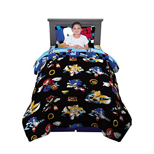 Franco Kids Bedding Super Soft Comforter and Sheet Set, 4 Piece Twin Size, Sonic The Hedgehog