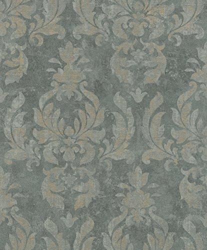 rasch Tapete 467413 aus der Kollektion Vincenza – Vliestapete mit fein skizzierten Ornamenten in Blau-Grau im klassischen Stil – 10,05m x 53cm (L x B)