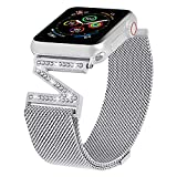ALAMHI Magnetic Milanese loop Watch Band Compatible with Apple Watch 38mm 40mm 42mm 44mm, Adjustable Stainless Steel Clasp Mesh Wristband Sport Loop for iWatch Series 6/5/4/3/2/1/SE for Women with Bling Diamond(Silver, 38mm/40mm)