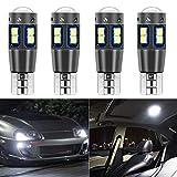 SanGlory 4 x T10 W5W Ampoules LED Voiture Canbus Sans Erreur 10 x 3030 SMD Blanc Xenon 6000K 12V 194 168 LED pour Feux de Position, Plafonniers, Eclairage Intérieur, Plaques et Coffres (10 LED Blanc)