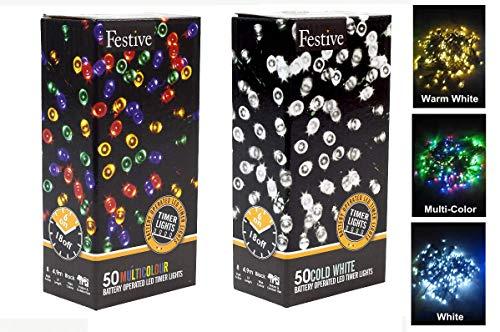 Festive - Guirnalda de luces LED navideñas (funciona con pilas, 25 bombillas), multicolor